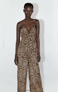 ZARA Leopard Print Jumpsuit With Knot Sz L