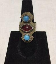 Old Vintage Turkmen Gold-washed Silver Ring Bezel-set Glass Stones Central Asia