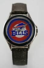 Relic Watch Men NFL Bills Logo Brown Leather Stainless Silver Battery Quartz