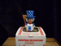 "STEINBACH GERMANY 3 1/2"" PATRIOTIC SNOWMAN  WOODEN CHRISTMAS ORNAMENT MINT BOX"