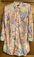 Lauren Ralph Lauren Tunic Top Womens Size MEDIUM Pink Paisley Long Sleeve Button