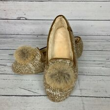 Bearpaw Shae Women Slippers Fur Pom Pom Brown Sweater Knit Upper Sheepskin Sz 11