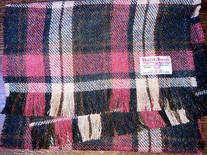 Harris Tweed Scarf Rose Pink Forest Cream Dark Green Charcoal Wool DOUBLE WIDTH