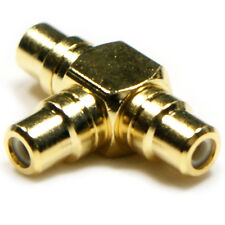 1 To 2 RCA Female Splitter -Gold Plated- Phono Audio Video Y/T Adapter Connector