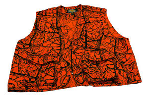 Cabela's Hunter Orange Twill Seclusion Blaze Hunting Vest 3XL XXXL Tree Mens