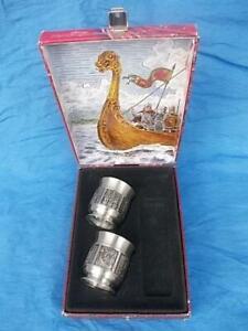 M656 / PAIR OF VINTAGE NORWEGIAN KONGE TINN PEWTER EGG CUPS IN ORIGINAL BOX