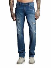 TRUE RELIGION Men's Blue Geno No Flap Distressed Slim Jeans UK34 RRP199 BNWT