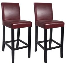 """NEW!  WOOD/LEATHER BARSTOOL - 29"""" BAR/COUNTER STOOL - KENDALL-SET OF 2 - RED"""