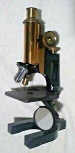 Antique Bausch & Lomb 86968 Cast Iron & Brass Microscope 4 m/m 0.85, 0.25 N.A.