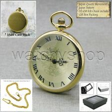 "Gold Brass Case Pocket Watch Quartz with Mineral glass and 14"" Link Chain P184"