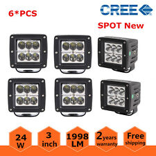 """6x 3"""" 24W LED 1998 LM Work Light Spot Lamp CUBE POD Square 3X3 4WD For Jeep Fog"""