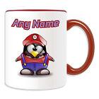 Personalised Gift Mario Mug Money Box Cup Fun Novelty Penguin Plumber Cartoon