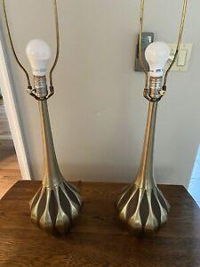 Vintage Pair Laurel Mid Century Modern Teardrop Table Lamps