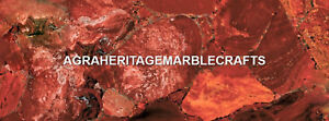 Marble Center Dining Table Top Red Jasper Inlay Stone Gift Arts Decor H5586