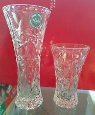 LENOX 2pc Clear Lead Fine Crystal Diamond Cut Antique Mini Vase Pair Set