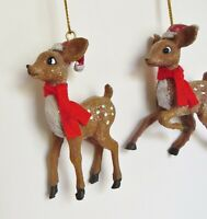 2 Reindeer Christmas Tree Ornaments Deer Fawns in Santa Hats , New without Tags