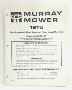 Used Murray 1975 Rider & Rotary Lawn Mowers Parts Catalog + 1975 Price List