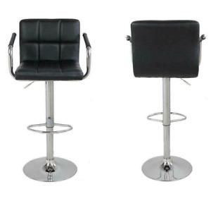 2 PCS Bar Stool w/ Arm Black PU Modern Adjustable Hydraulic Swivel Barstools
