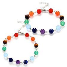 "7 Chakra Healing Beads Bracelet Crystal Quartz Natural Stone  Reiki 7""+1.5"" B6"