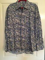 Mens Alan Flusser Blue/Grey Paisley Print Long Sleeve Button Up Dress Shirt XXL