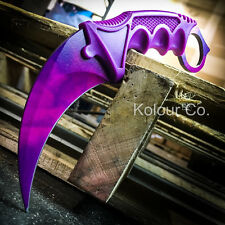 TACTICAL CS GO KARAMBIT KNIFE Survival Hunting BOWIE Fixed Blade PURPLE DOPPLER