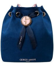 GIORGIO ARMANI Beauty My Way Blue Canvas Drawstring small Cosmetic Pouch Bag New