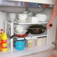 2-Tier Sink Rack Under Cabinet Organizer Storage Expandable Kitchen Shoes Shelf