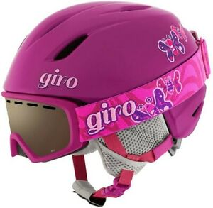 Giro Launch Combo Kids Snow Helmet w/Matching Goggles Berry Butterfly Small (52-