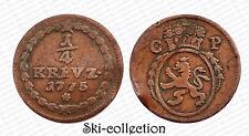 1/4 Kreuzer 1775 PFALZ. Karl Theodor. Empire Allemande/ Germany. Cuivre