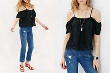 SHEER BLACK CROCHET LACE RELAXED CROP SEXY COLD OFF THE SHOULDERS SHIRT CAMI TOP