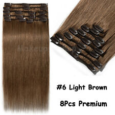 """16""""18""""20""""22"""" Clip in 100% Remy Human Hair Extensions Full Head Weft EP US Stock"""