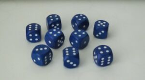 10 Würfel aus Ahornholz 16 mm blau Würfelspiel Ludo Thekenspiel