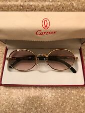 "Cartier luxury brand sunglasses. Gold frame w/ black ""buffs"" side Nice!!! Rare!"