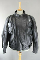 KJ BIKERS WEAR BLACK & SILVER LEATHER BIKER JACKET 46 INCH XL