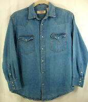 Vintage BIG MAC Workwear Denim Country Western Jean Shirt Pearl Snaps Sz L