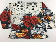 Jane Ashley Womens Short Sleeve Shirt Casual Lifestyle Size M Bead Floral