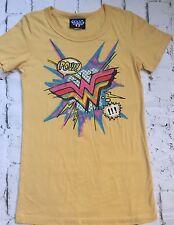 Junk Food Wonder Woman Logo Pow Graphic T-Shirt Comic Super Hero Yellow Small