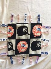 Baby Security Tag Blanket Yankees Inspired With Minky Ultrasoft fabric on back