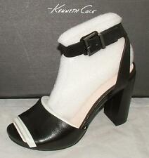 Kenneth cole TOREN Leather Black Leather Ankle Strap Sandal Heel sz 7 NEW