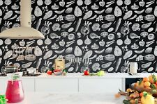 Original deco Mural sticker dining room lunchroom food inspiration black & white