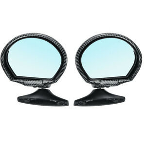 2x Carbon Fiber Look Shell Vintage Car Door Side View Wing Mirror Blue Glass