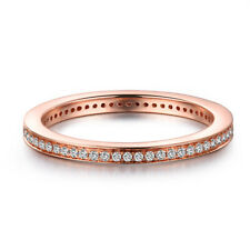 Solid 18k Rose Gold Pave Setting 0.3CT Natural Diamonds Anniversary Band Ring