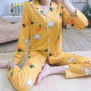 Ladies Women Pyjamas Set Long Sleeve Night wear Lounge Wear Pajamas Pjs Sleep D4