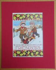 "Mary Engelbreit Print Matted 8 x 10 ""Friendship"" Boys Sledding"