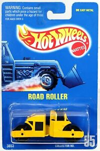 Hot Wheels Road Roller #3853 Never Removed from Package 1991 Yellow 1:64