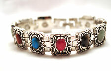 LADIES 7.25 IN SILVER & SEMIPRECIOUS STONES HEALING MAGNETIC THERAPY BRACELET