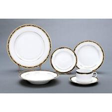 Dinnerware Serving Set 36 Pieces Porcelain Lillyana Pattern Gold/Platinum Combo