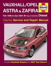 Haynes Manual Vauxhall Astra Zafira Diesel 1998-2004 3797 NUEVO
