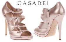 NEW CASADEI STRAPPY PINK LEATHER DOUBLE PLATFORM SHOES SANDALS It 38.5 - US 8.5