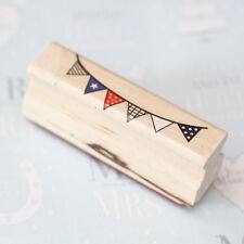 Bunting / Flag Rubber Wooden Stamp - Craft / Scrapbooking